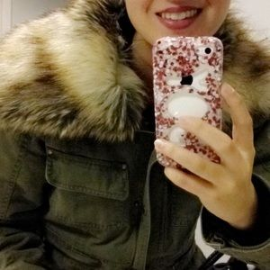 Fashion army green faux fur coat